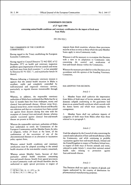 84/294/EEC: Commission Decision of 27 April 1984 concerning animal health conditions and veterinary certification for the import of fresh meat from Malta