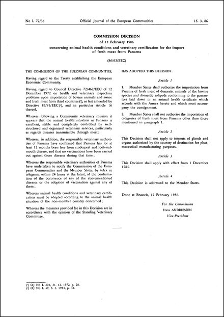 86/63/EEC: Commission Decision of 12 February 1986 concerning animal health conditions and veterinary certification for the import of fresh meat from Panama