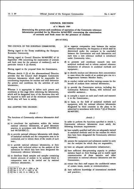 89/187/EEC: Council Decision of 6 March 1989 determining the powers and conditions of operation of the Community reference laboratories provided for by Directive 86/469/EEC concerning the examination of animals and fresh meat for the presence of residues