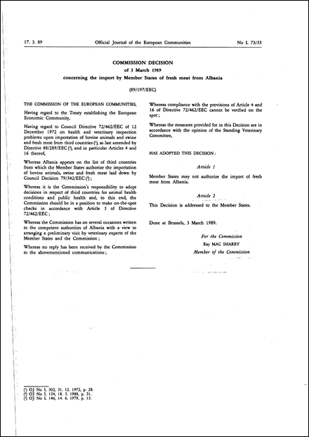 89/197/EEC: Commission Decision of 3 March 1989 concerning the import by Member States of fresh meat from Albania