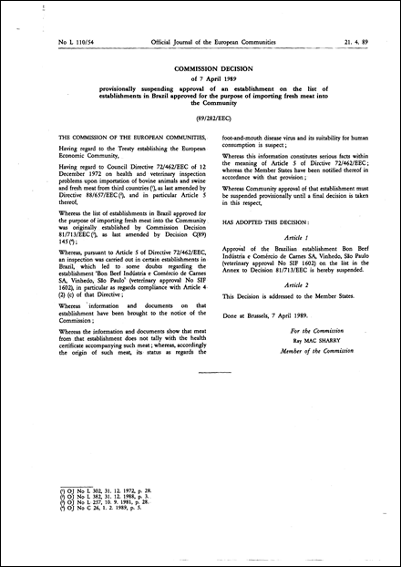 89/282/EEC: Commission Decision of 7 April 1989 provisionally suspending approval of an establishment on the list of establishments in Brazil approved for the purpose of importing fresh meat into the Community