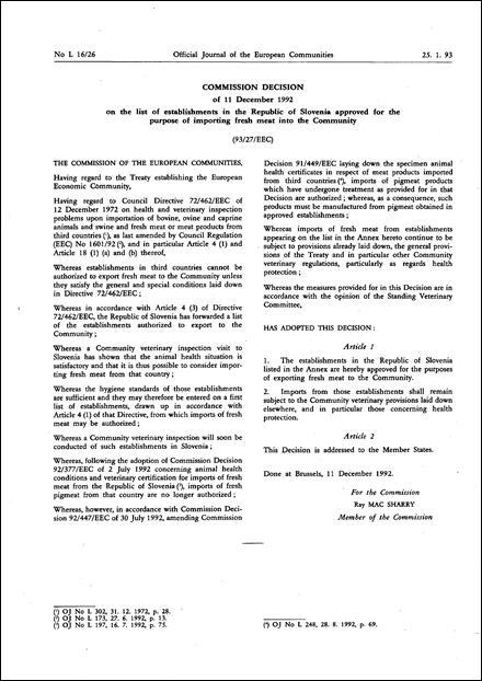 93/27/EEC: Commission Decision of 11 December 1992 on the list of establishments in the Republic of Slovenia approved for the purpose of importing fresh meat into the Community