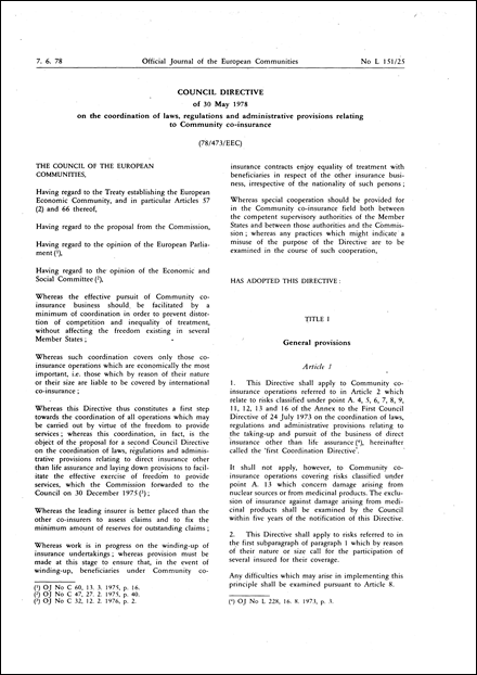 Council Directive 78/473/EEC of 30 May 1978 on the coordination of laws, regulations and administrative provisions relating to Community co-insurance (repealed)