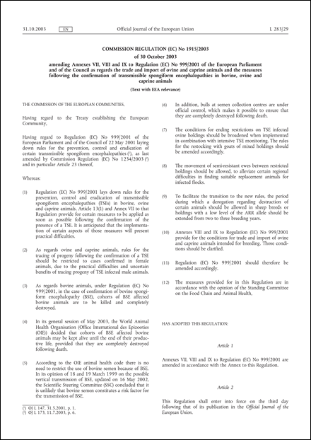 Commission Regulation (EC) No 1915/2003 of 30 October 2003 amending Annexes VII, VIII and IX to Regulation (EC) No 999/2001 of the European Parliament and of the Council as regards the trade and import of ovine and caprine animals and the measures following the confirmation of transmissible spongiform encephalopathies in bovine, ovine and caprine animals (Text with EEA relevance)