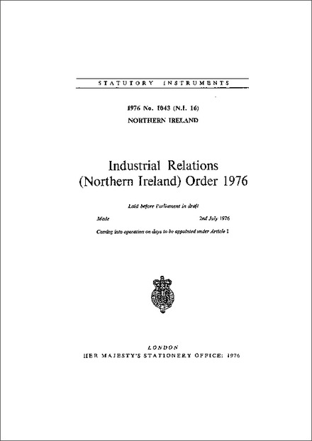 Industrial Relations (Northern Ireland) Order 1976