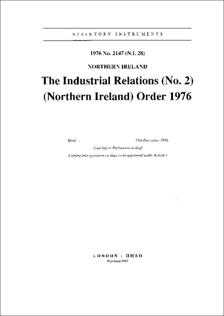 The Industrial Relations (No. 2) (Northern Ireland) Order 1976