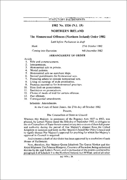 The Homosexual Offences (Northern Ireland) Order 1982