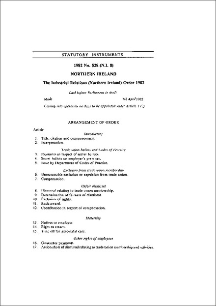 The Industrial Relations (Northern Ireland) Order 1982