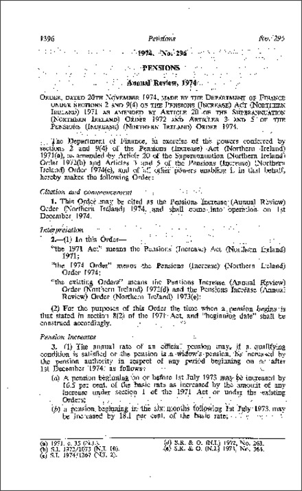 The Pensions Increase (Annual Review) Order (Northern Ireland) 1974