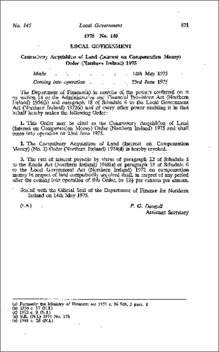 The Compulsory Acquisition of Land (Interest on Compensation