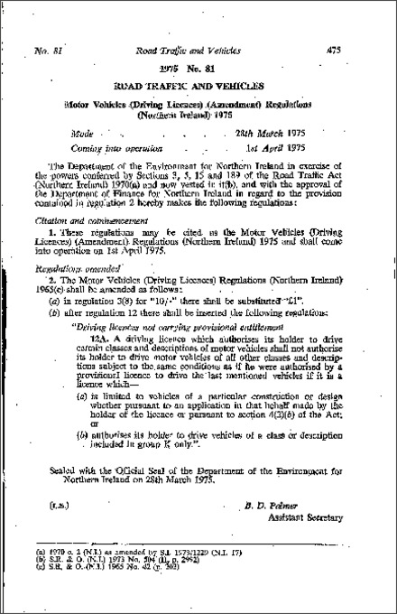 The Motor Vehicles (Driving Licences) (Amendment) Regulations (Northern Ireland) 1975