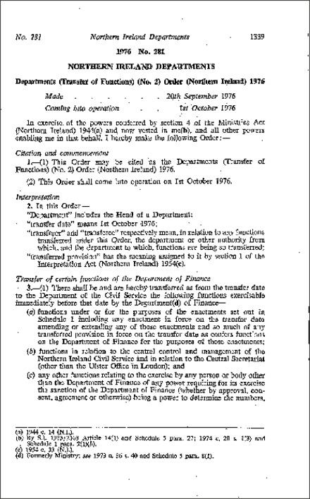 The Departments (Transfer of Functions) (No. 2) Order (Northern Ireland) 1976