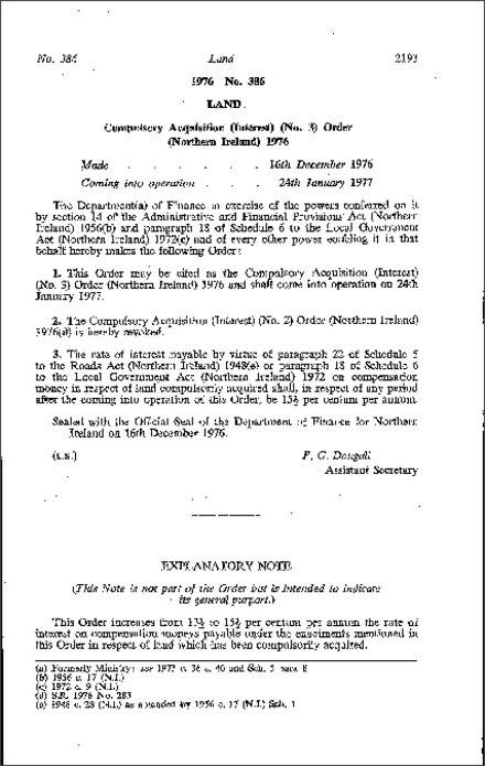 The Compulsory Acquisition (Interest) (No. 3) Order (Northern Ireland) 1976