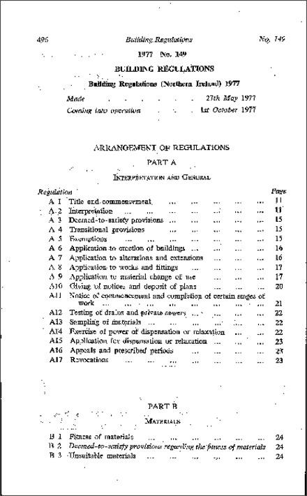 496 Made Building  Regulations 1977 No  149' Coming into