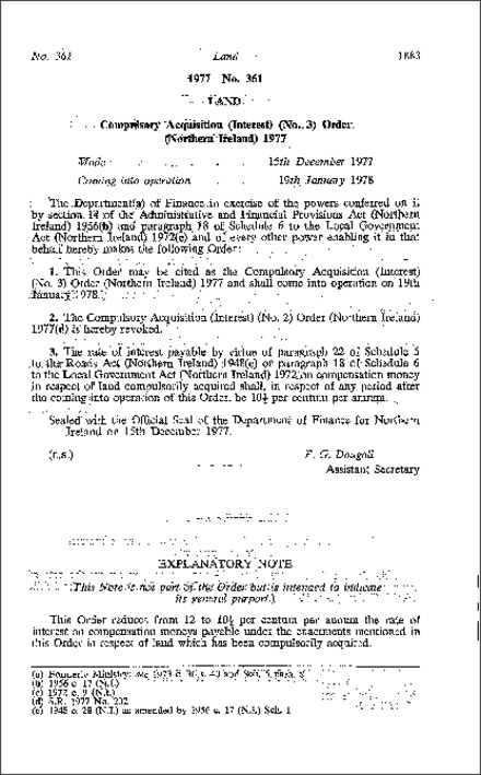 The Compulsory Acquisition (Interest) (No. 3) Order (Northern Ireland) 1977