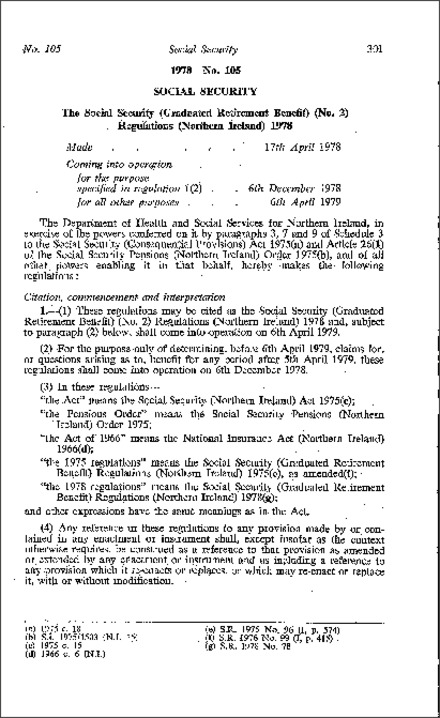 The Social Security (Graduated Retirement Benefit) (No. 2) Regulations (Northern Ireland) 1978