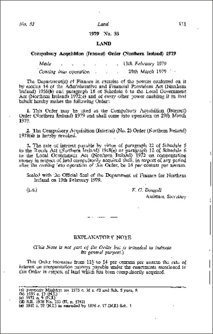 The Compulsory Acquisition (Interest) Order (Northern Ireland) 1979