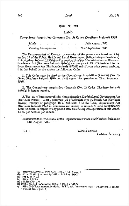 The Compulsory Acquisition (Interest) (No. 3) Order (Northern Ireland) 1980