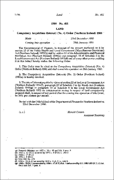The Compulsory Acquisition (Interest) (No. 4) Order (Northern Ireland) 1980