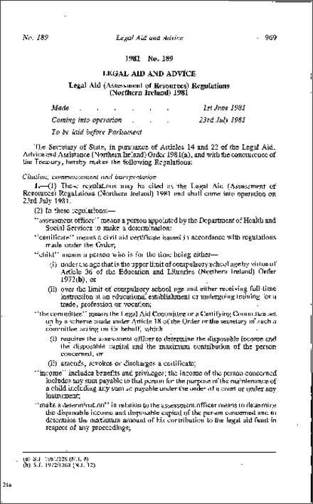 The Legal Aid (Assessment of Resources) Regulations (Northern Ireland) 1981