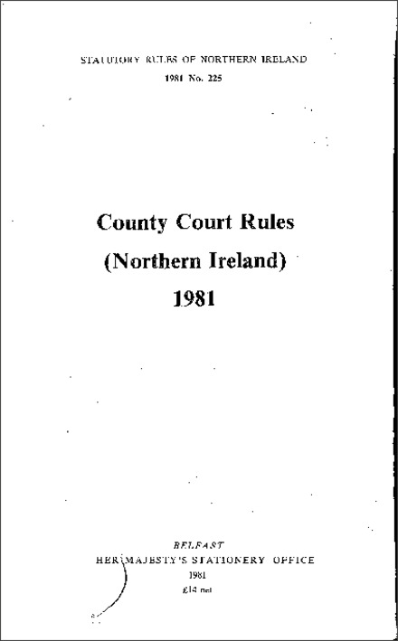 County Court Rules (N orthern Ireland) 1981