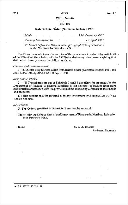 258 Rates 1981 No  42 RATES Rate Rebate Order (Northern