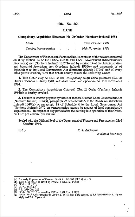 The Compulsory Acquisition (Interest) (No. 3) Order (Northern Ireland) 1984