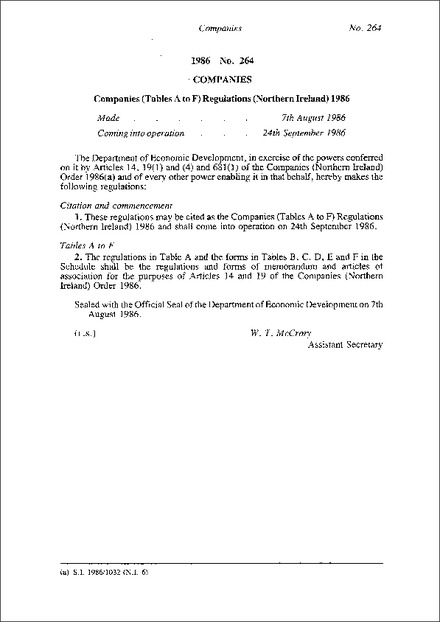Companies (Tables A to F) Regulations (Northern Ireland) 1986