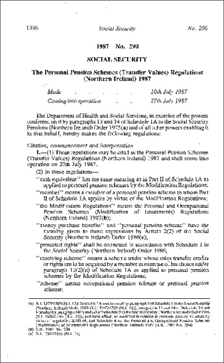 The Personal Pension Schemes (Transfer Values) Regulations (Northern Ireland) 1987