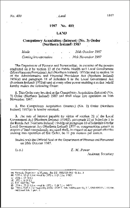 The Compulsory Acquisition (Interest) (No. 3) Order (Northern Ireland) 1987