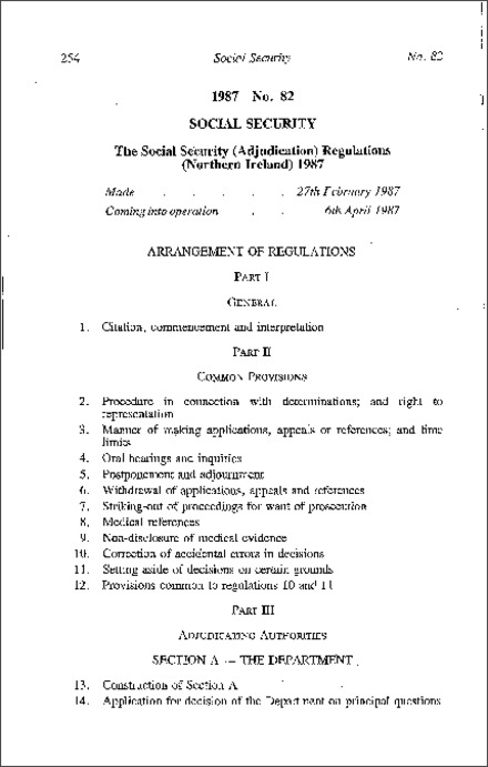 The Social Security (Adjudication) Regulations (Northern Ireland) 1987
