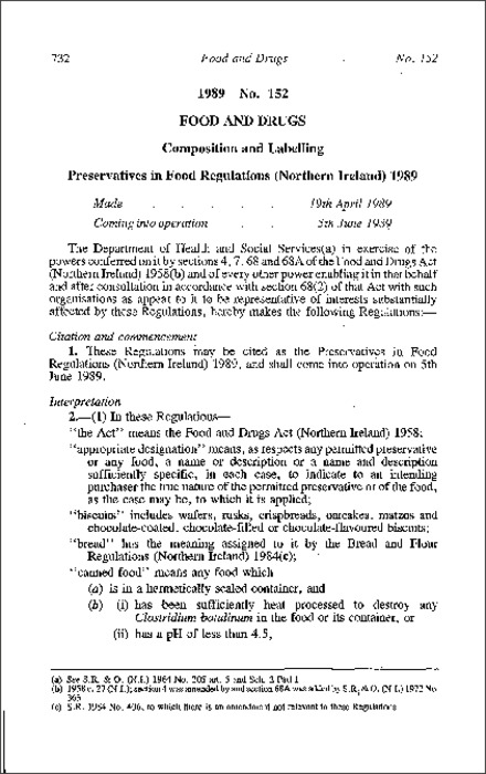 1989 No  152 Composition and Labelling Preservatives in Food