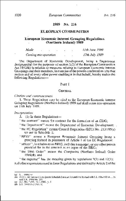 The European Economic Interest Grouping Regulations (Northern Ireland) 1989