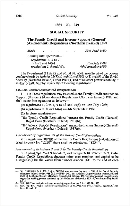 The Family Credit and Income Support (General) (Amendment) Regulations (Northern Ireland) 1989