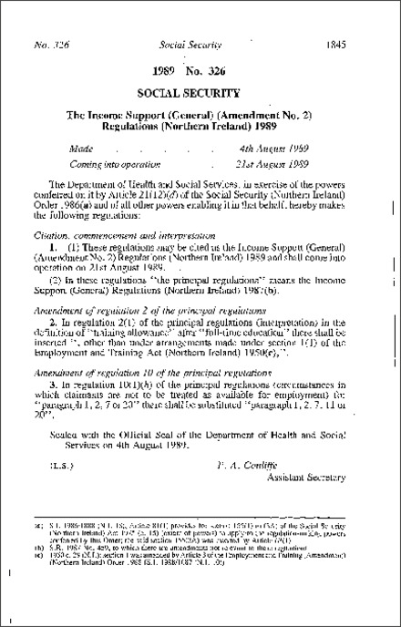 The Income Support (General) (Amendment No. 2) Regulations (Northern Ireland) 1989