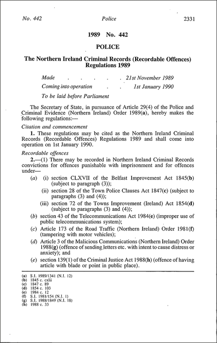 The Northern Ireland Criminal Records (Recordable Offences) Regulations 1989