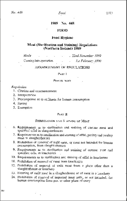 The Meat (Sterilisation and Staining) Regulations (Northern Ireland) 1989