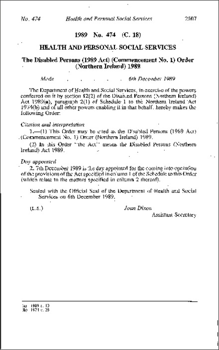 The Disabled Persons (1989 Act) (Commencement No. 1) Order (Northern Ireland) 1989