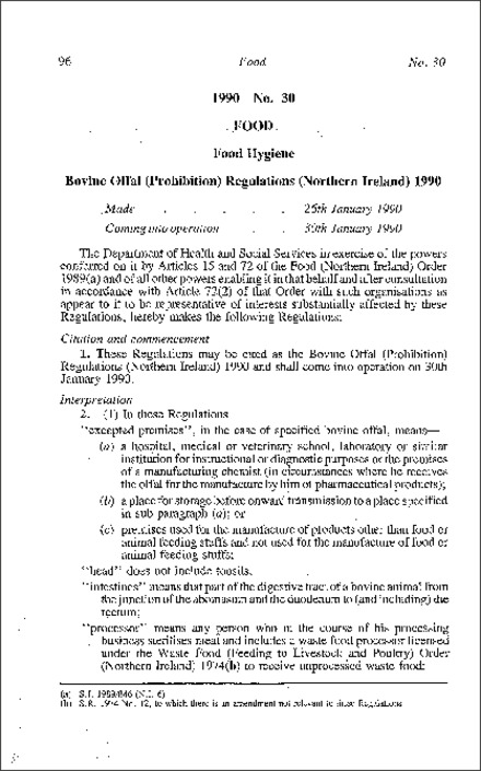 The Bovine Offal (Prohibition) Regulations (Northern Ireland) 1990