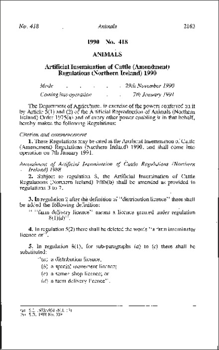 The Artificial Insemination of Cattle (Amendment) Regulations (Northern Ireland) 1990