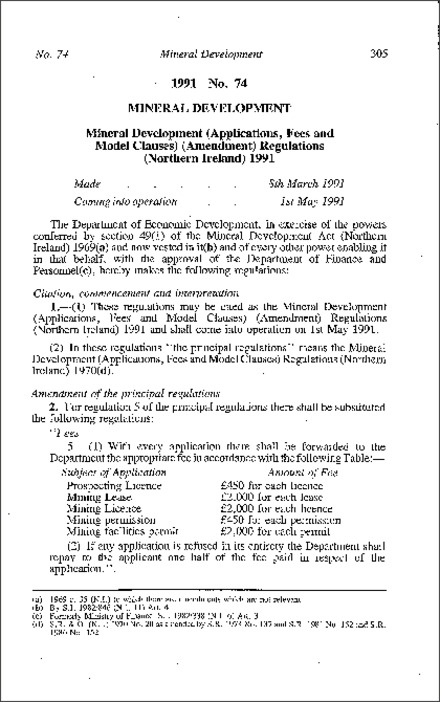 The Mineral Development (Applications Fees and Model Clauses) (Amendment) Regulations (Northern Ireland) 1991