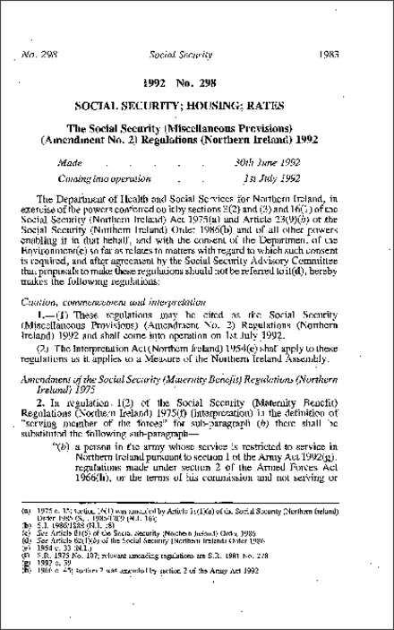The Social Security (Miscellaneous Provisions) (Amendment No. 2) Regulations (Northern Ireland) 1992