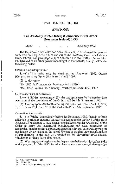1992 No. 321 (C. 15) ANATOMY The Anatomy (1992 Order) (Commencement ...