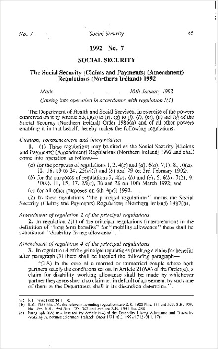 The Social Security (Claims and Payments) (Amendment) Regulations (Northern Ireland) 1992