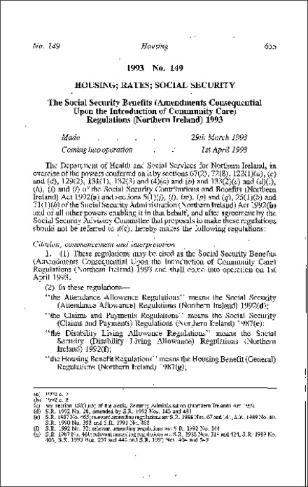 The Social Security Benefits (Amendments Consequential Upon the Introduction of Community Care) Regulations (Northern Ireland) 1993