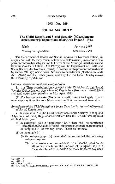 The Child Benefit and Social Security (Miscellaneous Amendment) Regulations (Northern Ireland) 1993