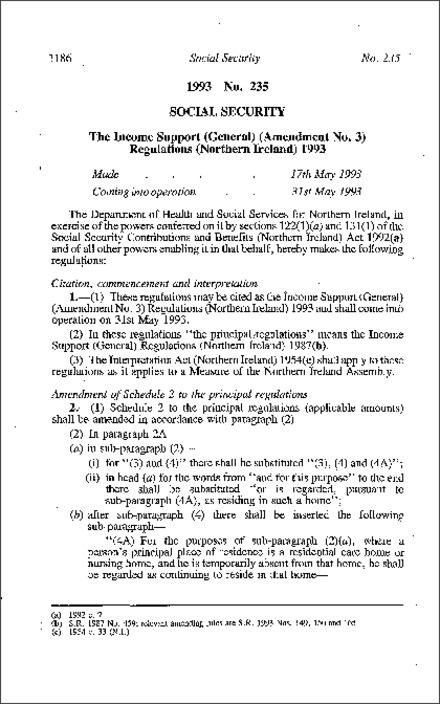 The Income Support (General) (Amendment No. 3) Regulations (Northern Ireland) 1993