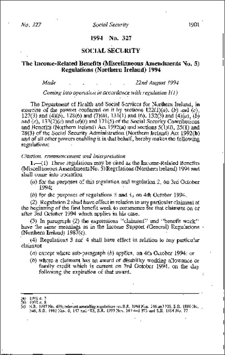 The Income-Related Benefits (Miscellaneous Amendment No. 5) Regulations (Northern Ireland) 1994