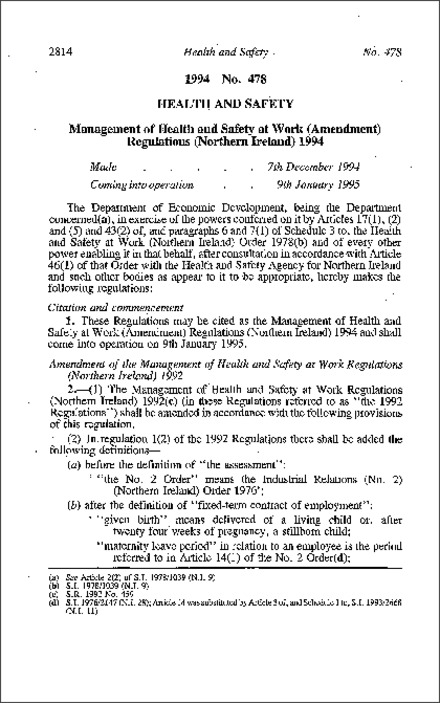 The Management of Health and Safety at Work (Amendment) Regulations (Northern Ireland) 1994