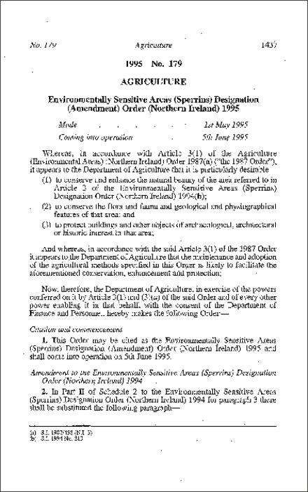 The Environmentally Sensitive Areas (Sperrins) Designation (Amendment) Order (Northern Ireland) 1995